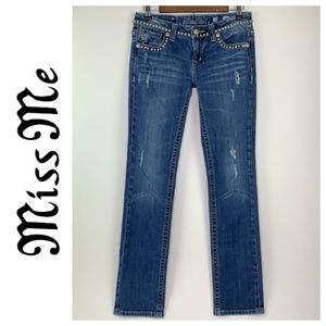 Miss Me Embellished Jeans Straight Leg Size 28